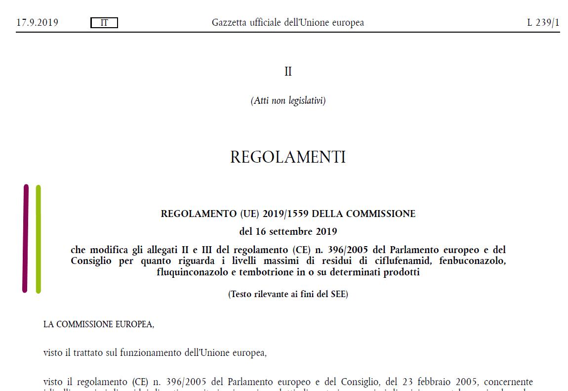 Residui Di Prodotti Fitosanitari Modificati Gli Allegati Ii E Iii Del Regolamento Ce N 396 2005